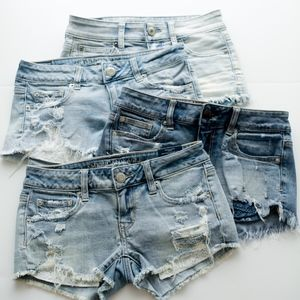 American Eagle Denim Shortie Shorts size 0